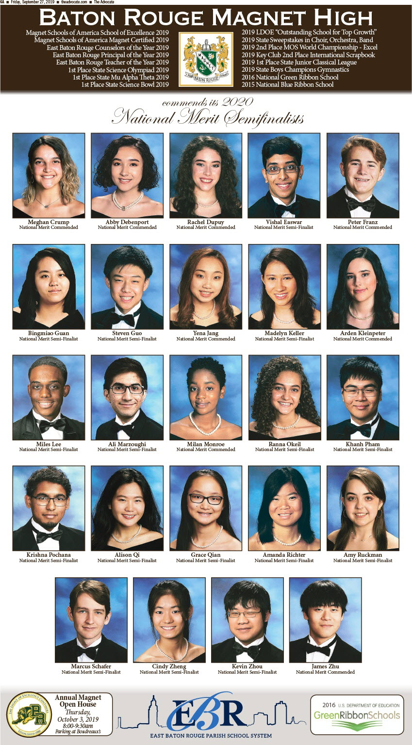 5 Dozen named as National Merit Semifinalists from Baton Rouge Area -16 BRMHS  Students are Semi-Finalists