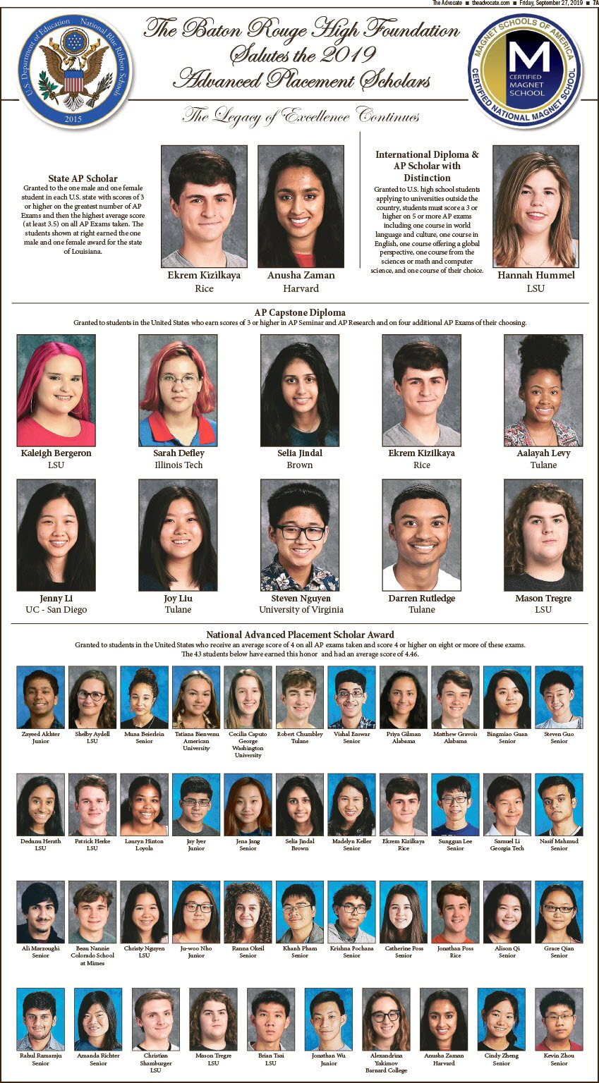 Baton Rouge Magnet High School students recognized as AP Scholars