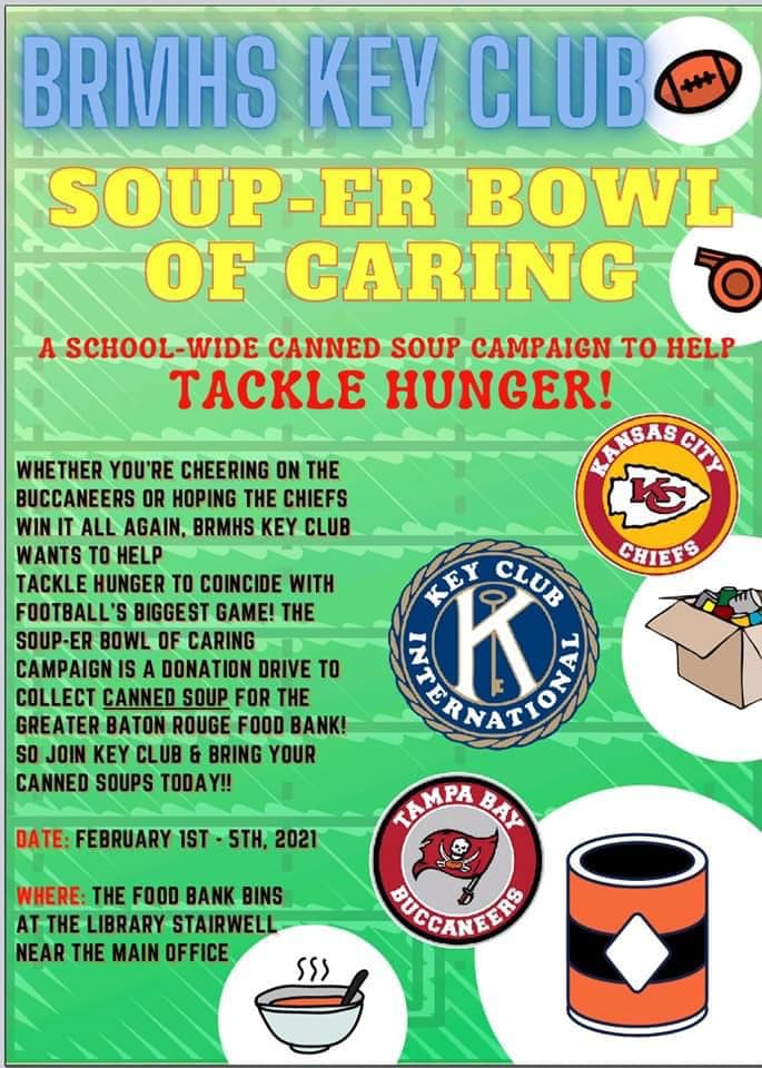 The Kiwanis Club of Red Stick partnered with its Key Club at Baton Rouge Magnet High School to collect cans of soup for the SOUP-ER BOWL